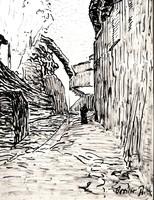 Orvietoi városrészlet sétáló alakkal - eredeti tusrajz