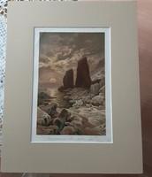 Chromo - litográfia Ernst Heyn festménye után, kasírozott, jelzett, sorszámozott