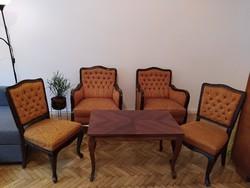 Neobarokk, antik, tömör fa ülőgarnitúra, 2 antik neobarokk fotel, 2 szék és tömör fa dohányzó asztal