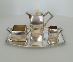 Ezüst szecessziós kávés készlet rendkívül ritka méretű