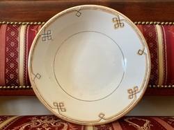 Antik Elbogen masszív porcelán kínáló tál, tányér, pogácsás, komatál, kézzel festett, narancs fekete