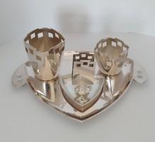 Ezüst art-deco asztali dohányzó készlet szivarozó készlet
