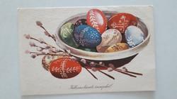 Retro húsvéti képeslap 1968 tojásos barkás régi levelezőlap