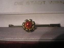 N11 Sálcsat  vagy .dísztű + ++gyöngy Aranyozott karmos rögzítésű   ritkaság 4-cm