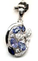 Valódi tanzanit és kék zafír ezüst medál pillangóval