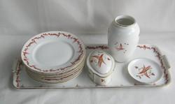 Zsolnay porcelán süteményes készlet + váza bonbonier tálka