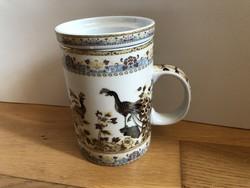 Nagyon szép Teás készlet szűrővel -  Páva mintás ( Dr. Chen Patika jelzésű )