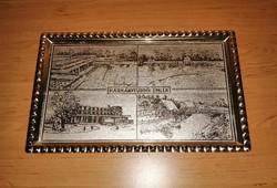 Harkányfürdői emlék feliratú retro fém tálca 20,5*33,5 cm (n)