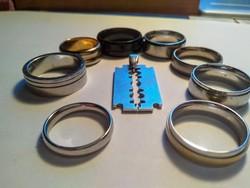 8 db nemesacél gyűrű+ egy penge medál