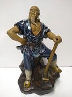 Jelzett Kínai földműves kerámia szobor 24 cm