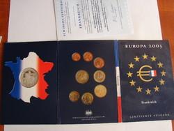 Francia Euro sor, 2003. + 1 db kb. 20 gr Ezüst medál, /.925