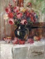 Pirhalla Nándor :Rózsás csendélet