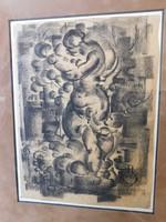 Ruzicskay György:Anya gyermekével,grafika ,szénrajz