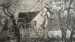 HERWERTH JÓZSEF: Gyümölcsfák (rézkarc 16,5x29 cm) Barcsay Jenő és Vén Emil tanítványa