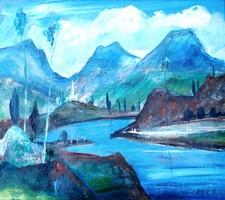 Molnár C. Pál (1894-1981): Táj hegyekkel és folyóval - plusz: ajándék műteremtábla