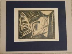 Balázs G.Árpád:Expresszionista litográfia.Ady illusztráció 1930.