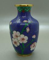 B404 Kínai zománcos váza , rekesz zománc cloisonné váza - meseszép gyűjtői darab!