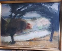 Sopron Műhl Aladár Bécsi út akvarell utcakép festmény