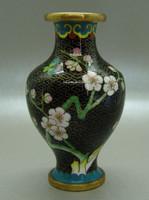 B402 Kínai zománcos váza , rekesz zománc cloisonné váza - meseszép gyűjtői darab!