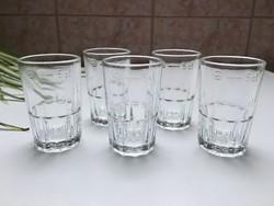 Retro üveg pohár 5cl magyar hitelesített Szent Koronás 6db