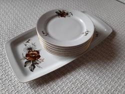 Alföldi süteményes készlet barna rózsás