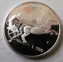 Ezüst 500 Líra San Marino olimpia PROOF