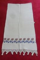 Régi, népi szőttes, hímzett vászon dísztörölköző, ( 112 X 57 cm )