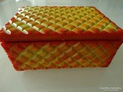 Ékszeres üvegdoboz sárga malachit színben
