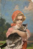 Abonyi Ernő: Kislány cicával (pasztell)