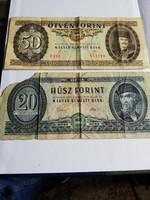 20 és 50 forintos