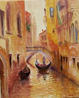 Velence.Csónak.Házak.Festmény
