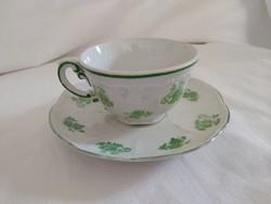 Régi Zsolnay mokkás/kávés csésze szett, zöld mintával