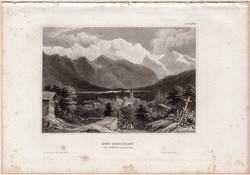 Mont Blanc, acélmetszet 1858, Meyers Universum, eredeti, 10 x 14 cm, Sallenche, Alpok, Franciaország