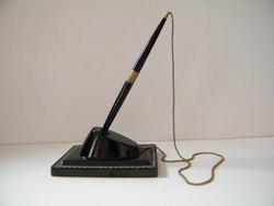 Régi bakelit, bőr bevonatos asztali tolltartó eredeti golyóstollal