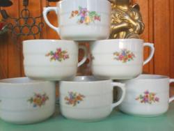 Antik virágos porcelán teás csészék, 6 db Drasche csésze