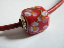 Pandora ezüst szerelékes bőr nyaklánc Bahia muranoi üveg medállal