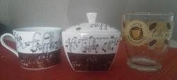Cukortartó,kávés csésze és egy capuccinos pohár