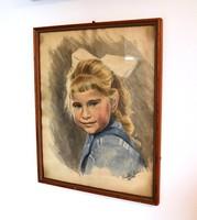 Akvarell kislány portré
