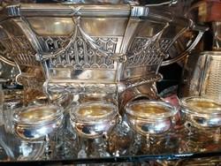 Ezüst sószóró fűszeres, bors szóró fűszertartó üveg betéttel. 4 db- os szett.