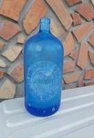 Retro 1 literes kék szódásüveg, üveg,  nosztalgia darab, dísznek Földes Hadházi és Imre