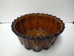 Régi mázas cserép kuglóf sütő 22 cm