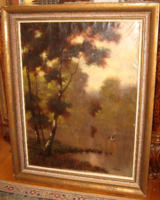 Quality at a special price! Large original jacquard Charles / 18904- / picture: landscape with wild duck