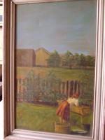 Ruhát mosó parasztasszony (festmény, 39 cm x 62 cm)