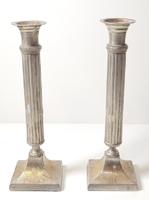 Antik, ezüstözött gyertyatartó pár