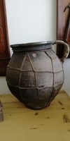 Kerámia főzőedény, drótozott régi korsó a 19.század végéről
