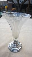 Ezüst talpas kristály váza dianás