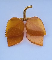 Régi orosz borostyán bross nyírfa levelek