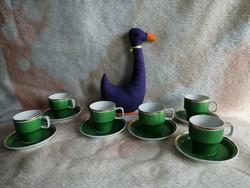 21172A Hollóházi porcelán retro kávés pohár szett