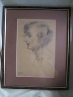 Gyenes Gitta (1888 - 1960) Önarckép  Szakvéleménnyel!