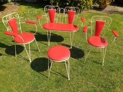 Régi retro kárpitozott kovácsoltvas vas vázas kerti szék pad terasz garnitúra levehető kárpittal